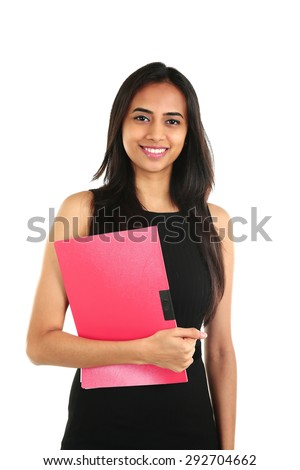 Close up portrait of a smiling Indian business woman with a folder. isolated on white. - stock photo
