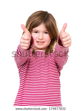 Close up portrait of a smiling young girl with thumbs up approval, isolated on white - stock photo