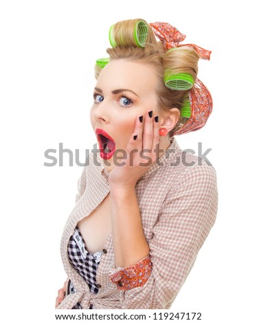 Close-up portrait of a surprised / socked pin up girl isolated on white background in studio. Old / retro fashion style photo - stock photo