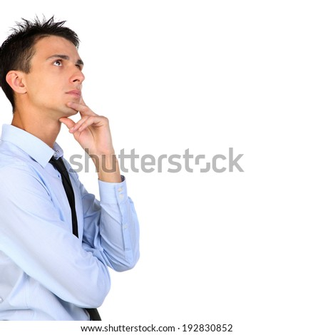 Close up Portrait of a thinking businessman looking for copy space . Isolated background - stock photo
