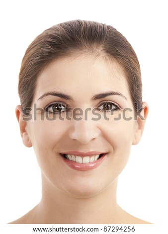 Close-up portrait of a woman smiling against white background - stock photo