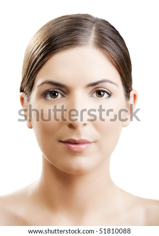 Close-up portrait of a woman with a symmetrical face - stock photo