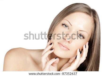 close up portrait of a young beautiful woman with health skin on face - stock photo