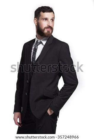 Close up portrait of a young businessman isolated on white background