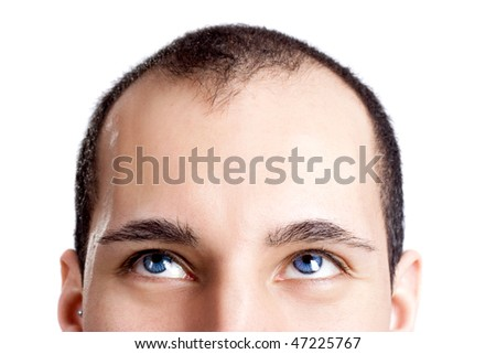 Close-up portrait of a young man with blue eyes isolated on white - OBS: model use lens contact - stock photo