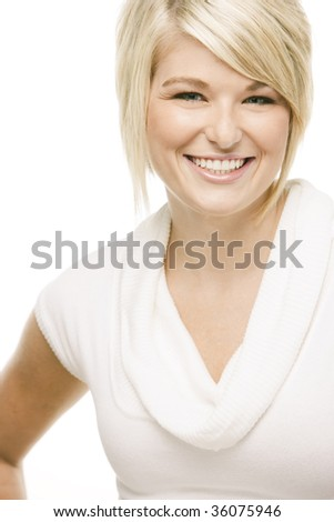 Close-up portrait of a young pretty woman over white - stock photo