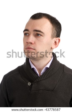 Close-up portrait of a young serious man, isolated on white