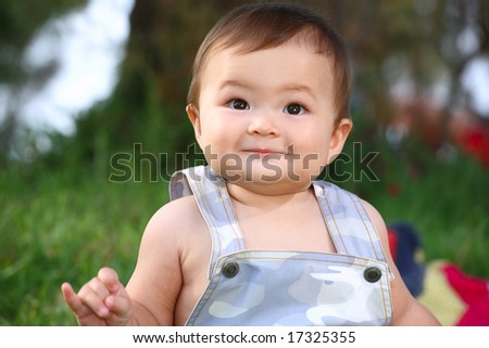 close-up portrait of adorable baby boy - stock photo