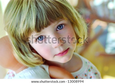 close-up portrait of  adorable little girl - stock photo