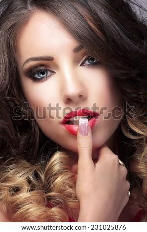 Close up Portrait of Affectionate Cute Female - stock photo