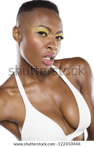 Close-up portrait of African American over white background