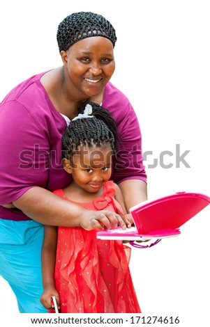 Close up portrait of african tutor helping girl with homework on laptop.Isolated on white background.