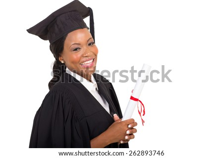 close up portrait of afro american female college graduate - stock photo