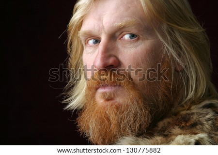 Blonde hair with red facial hair