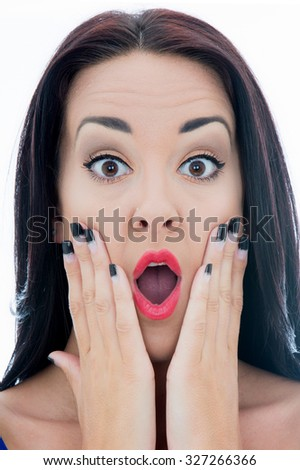 Close Up Portrait of an Attractive Young Woman Looking Shocked or Surprised With Her Mouth Open Isolated Against a Plain White Background - stock photo