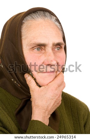 Close-up portrait of an old peasant woman isolated on white background - stock photo