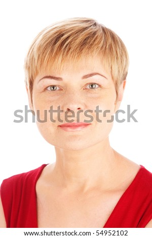 close up portrait  of attractive mature woman - stock photo