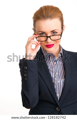 Close-up portrait of attractive young business woman, isolated on white