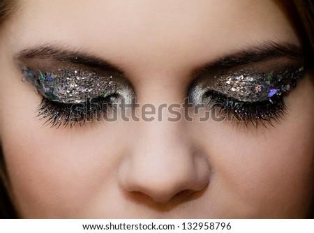 Close-up portrait of beautiful caucasian young woman - stock photo
