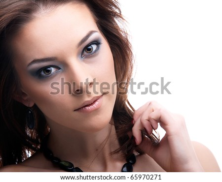 close-up portrait of beautiful dark haired model - stock photo