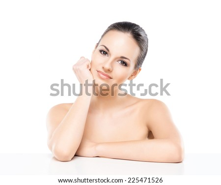 Close-up portrait of beautiful, fresh, healthy and sensual girl isolated on white - stock photo