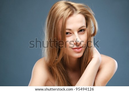 Close-up portrait of beautiful girl - stock photo