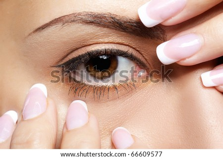close-up portrait of beautiful girl's eye-zone
