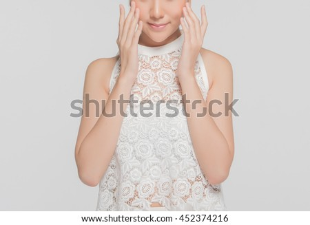 close up Portrait of beautiful girls  in clean skin concept  with Gray background - stock photo