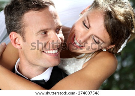 close up portrait of beautiful smile from romantic couple