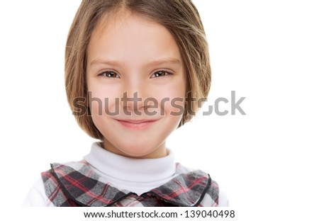 Close-up portrait of beautiful smiling young girl, isolated on white background.
