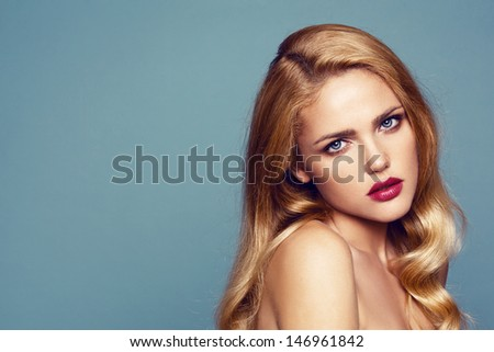 Close-up portrait of beautiful woman with bright lips - stock photo