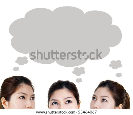 Close-up portrait of beautiful women having thought. Looking up. - stock photo