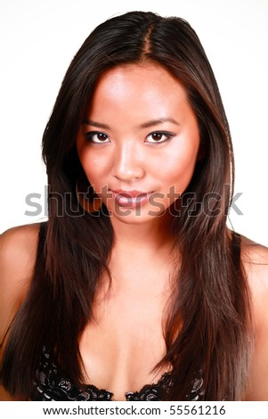 Close-up portrait of beautiful young asian model, isolated over white background - stock photo