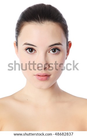 Close-up portrait of beautiful young woman, isolated over white background - stock photo