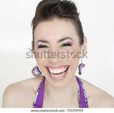 close up portrait of beauty cheerful young woman with bright make up isolated on white background