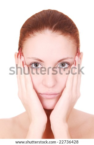 close up portrait of beauty woman over white
