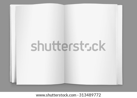 close up portrait of blank page open book on white background - stock photo