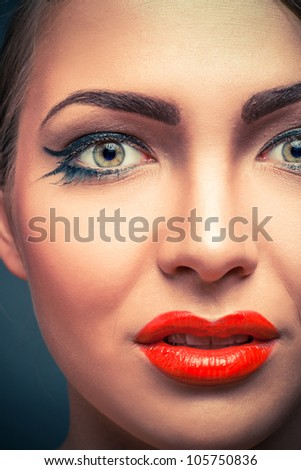 close-up portrait of blond woman with glamour make-up