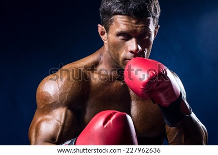 Close-up portrait of boxer in red boxing gloves on a dark blue background. - stock photo