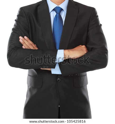 close up portrait of business man body isolated on white background - stock photo