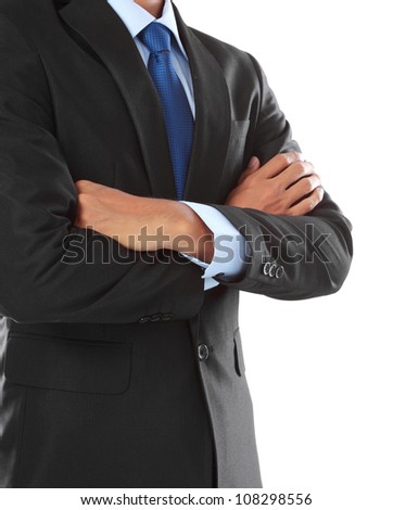 close up portrait of business man body isolated on white background