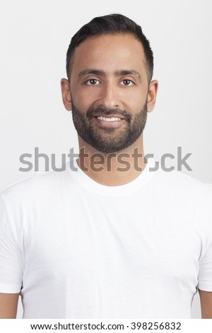 Close up portrait of casual young man on isolated white background. Election voter. - stock photo