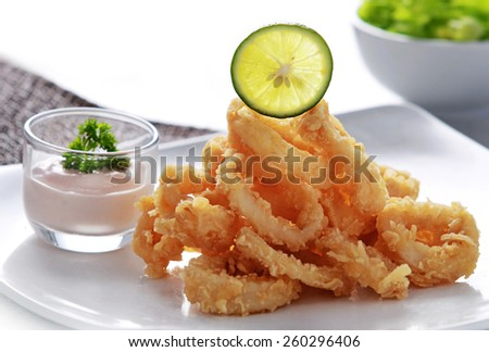 close up portrait of crispy fried calamary served with a cocktail sauce - stock photo