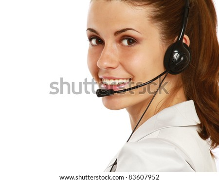 Close-up portrait of customer support operator, isolated - stock photo