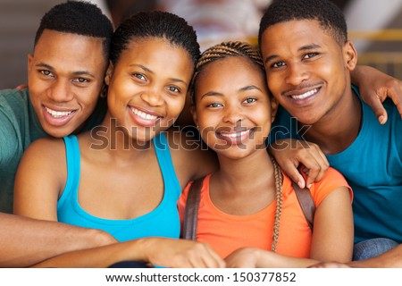 close up portrait of cute african american university students - stock photo