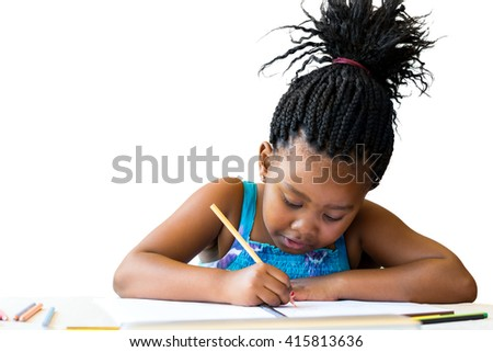 Close up portrait of cute african child with braids drawing with cool pencil.Isolated on white background. - stock photo