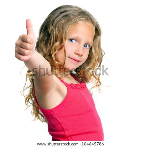 Close up portrait of cute girl showing thumbs up.Isolated on white. - stock photo