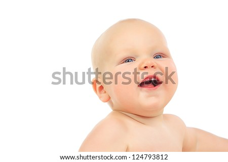 Close-up portrait of cute small baby lookng at camera. Isolated over white.