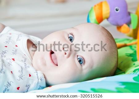 Close up portrait of emotional child. - stock photo