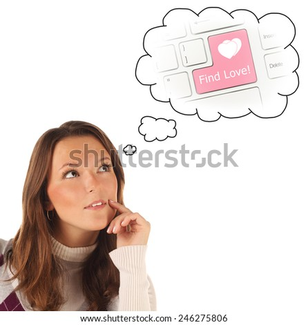 Close-up portrait of girl dreaming about internet dating isolated on white background